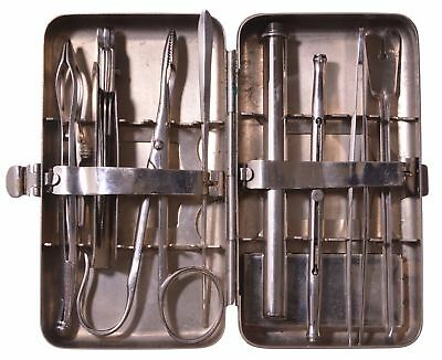 19c Antique German Medical Surgical Set Aesculap In Metal Case Very Rare