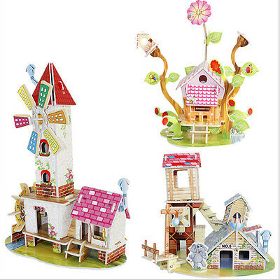 3D Puzzle Jigsaw Baby Toy Construction Gift For Children Houses Puzzle Toy FG