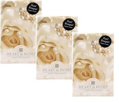 Pack of 3 Heart and Home Pearl Bouquet Large Scented Sachet with Hanger