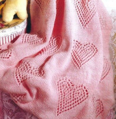 Baby Lace and Hearts Blanket/Shawl Knitting Pattern 142