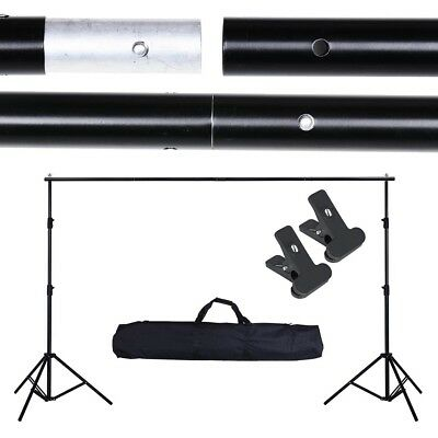 Photography Backdrop Stand Kit -  Portable 3x2m Muslin Background w/2 Clamps Bag