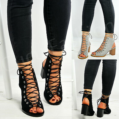 New Womens Ladies Lace Up Peep Toe Block Heel Summer Sandals Shoes Size Uk 3-8