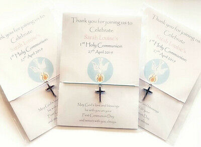 Holy Communion/Confirmation friendship bracelets personalised invites favours