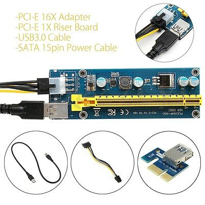 USB 3.0 PCI-E Express 1x To16x Extender Riser Board Card Adapter Power Cable