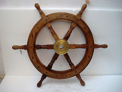 Vintage Style ship's STEERING - HELM - Wooden & Brass - 2 Feet - LARGE (1226)