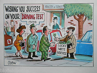 "CLIFFORD C LEWIS ""CLEW"" Original Pen & Ink Cartoon - Driving Test Luck - #158"