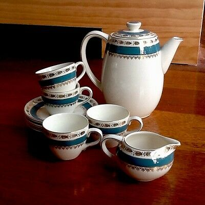 Porcelain Crown Ducal A.G.R. Coffee Set -Made in England - Gold and Blue details