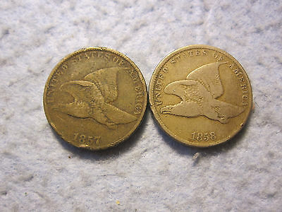 1857 and 1858 Flying Eagle Cent Lot 2 Coins (1c)