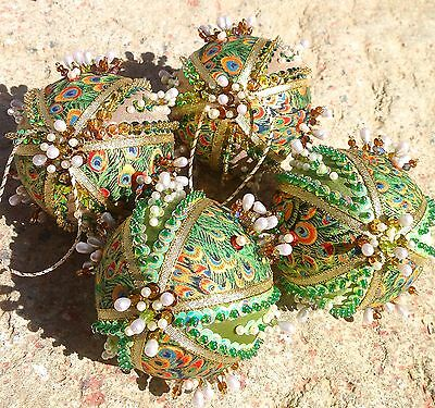 Handmade Sequins Beaded 4 Pc Set Peacock Feathers Gold Christmas Ornaments Balls