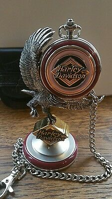 Harley Davidson Electra Glide Pocket Watch Stand & Leather Pouch
