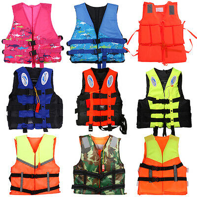 Polyester Adult Kid Life Jacket Universal Swimming Boating Foam Vest W/ Whistle