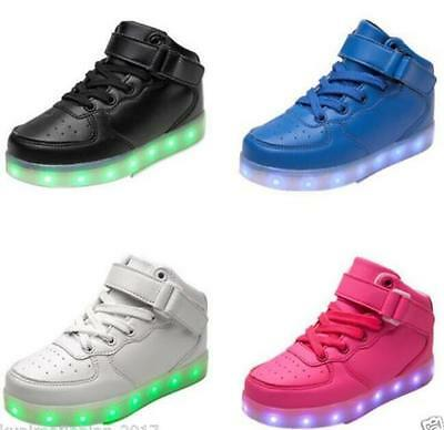 Children Kids USB 7 Color LED Light Up Luminous Shoes Boys Girls Casual Sneakers