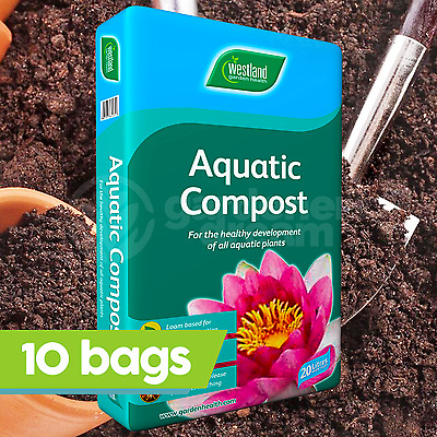 10 x Westland 20L Aquatic Compost For Use In / Around Garden Ponds Water Feature