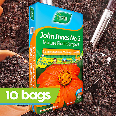 10 x Westland John Innes No3 30L Mature Compost Plant Shrub Garden Root Build
