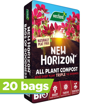 20 x Westland 50L New Horizon Peat Free Compost Multi Purpose Garden Plant Soil