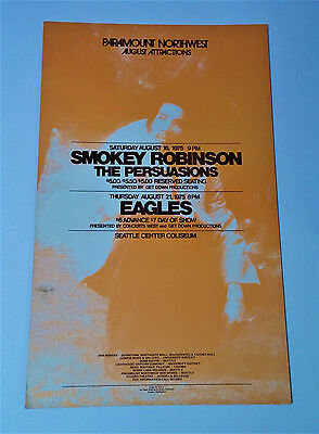*Original* (1975) SMOKEY ROBINSON The Eagles MOTOWN Cardboard Concert POSTER