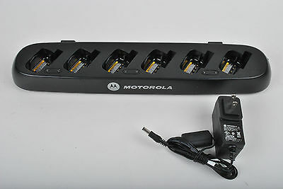 Motorola HCTN4002A 6 Bay Charger Charging Station TESTED w/ Power Adapter