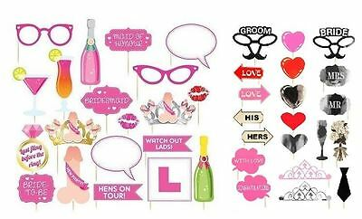 20Pc Wedding Hen Party Photo Booth Selfie Props Set Party Fun Novelty Accessory