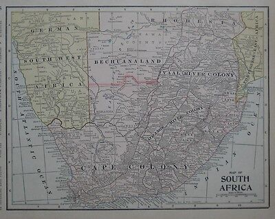 Original 1902 Boer War Map SOUTH AFRICA Orange River Colony Cape Town Rhodesia