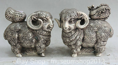 "7"" Chinese Folk Feng Shui Silver Zodiac Year Sheep Goat Statue Sculpture Pair"