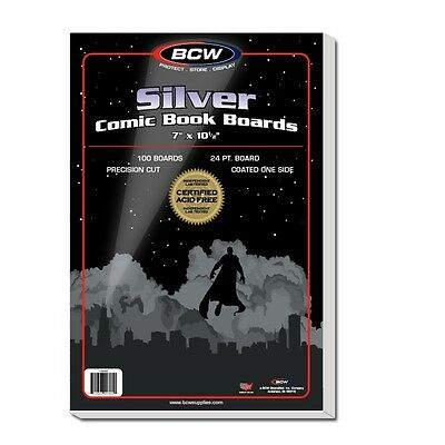 100 BCW Silver Age Comic Backing Boards - Acid Free - White