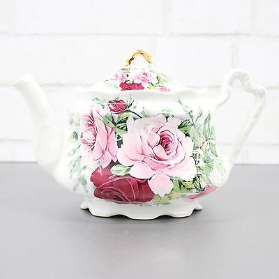 Arthur Wood Teapot - Pink Roses Teapot - English Teapot With Pink Roses