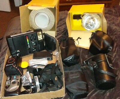 misc vintage camera lot flash lens covers camera cases & more