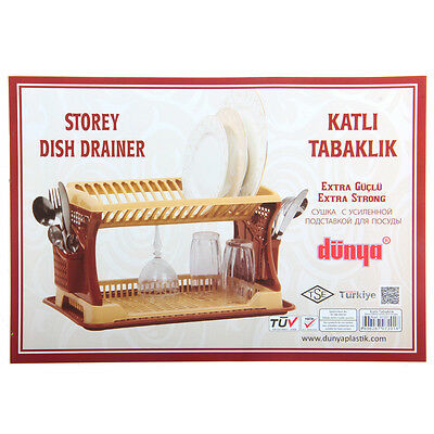 Plastic Dish Drainer 2 Layer Rack Utensil Cutlery With Tray