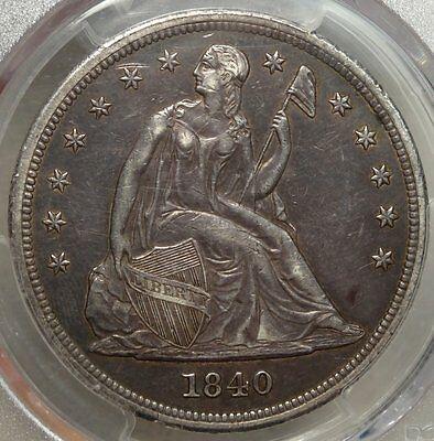 1840 Seated Liberty Dollar, Original PCGS EF-45 Secure, Better Date!!
