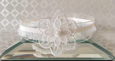 Baby Ivory Christening Headband Pearl Halo Baptism Wedding Girl Lace Flower
