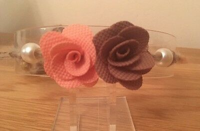 Rustic Tie Back Headband Newborn + Baby Photo Prop Peach Brown Flower Baby Halo