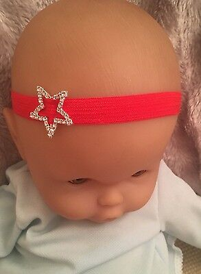 Christmas Silver Star Red Baby Headband Hairband Girl Festive Baby Gift