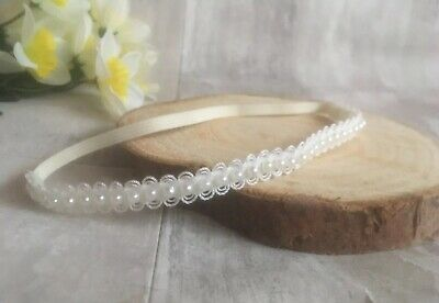 100+ Sold!!! Baby Girl Ivory Christening Headband Baptism Wedding Pearl Hairband