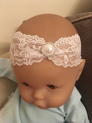 Baby White Christening Headband Pearl Lace Halo Baptism Wedding Girl Diamanté