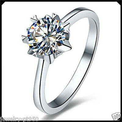 Solitare 1.00CT Diamond VVS1 Solid Platinum PT950 Engagement Wedding Woman Ring