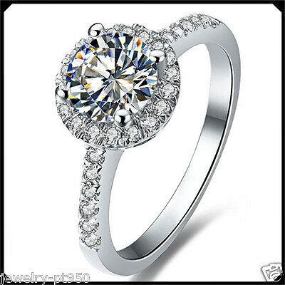 0.50CT Diamond Solid Platinum PT950 White Gold Engagement Woman Solitare Ring