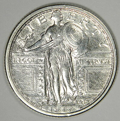 1917-D Type 1 Standing Liberty Quarter - Nice Au/bu About Unc. - Priced Right!