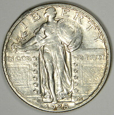 1928-S Standing Liberty Quarter - Nice Au/bu About Uncirculated Priced Right!