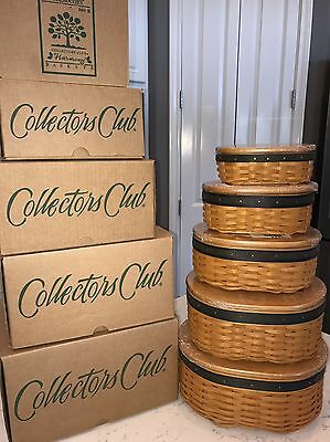 Longaberger Set of 5 Collectors Club Harmony Baskets New In Box.  2 Are Signed.