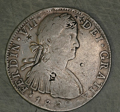 1809 8 Reales Mo Mexico City Silver Spanish Colonial Coin LOTS OF CHOP MARKS