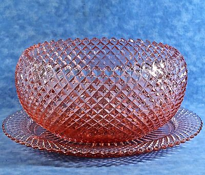 """Anchor Hocking Depression MISS AMERICA Pink Hobnail 8"""" Cupped Bowl & Underplate"""