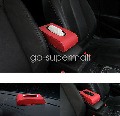 Red Durable Towel Leather Tissue Box napkin Car Home Paper Holder Case Cover