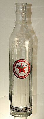 "Texaco Motor Oil 15"" Glass Bottle Quart Gas Service Station Garage Advertising"