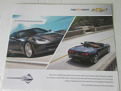 "2014 CORVETTE COUPE AND CONVERTIBLE FACT CARD (8-1/2"" x 11"")"