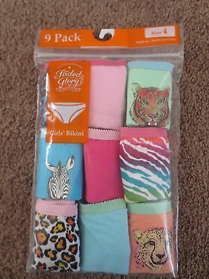 New Faded Glory Girls 9 Pack Bikini Underwear Size 4 6 8 10 12 14 Animal Print