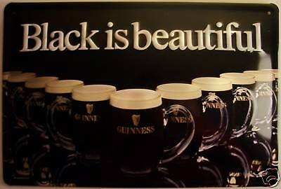 Guinness Black is Beautiful Metal Sign Signboard 3D embossed Tin Sign 20 x 30 cm
