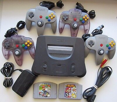 Nintendo 64 N64 Console System 4 OEM Controllers Super Smash Bros + Mario Kart!