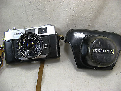 Konica Auto S2 camera with Konica Hexanon 45mm 1.8 Lens W/Leather Case