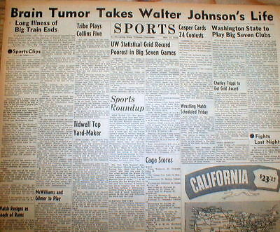 1946 headline newspaper Washington Senators baseball pitcher WALTER JOHNSON DEAD