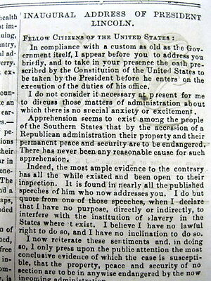 1861 newspaper w a complete printing ABRAHAM LINCOLN 's  FIRST INAUGURAL ADDRESS